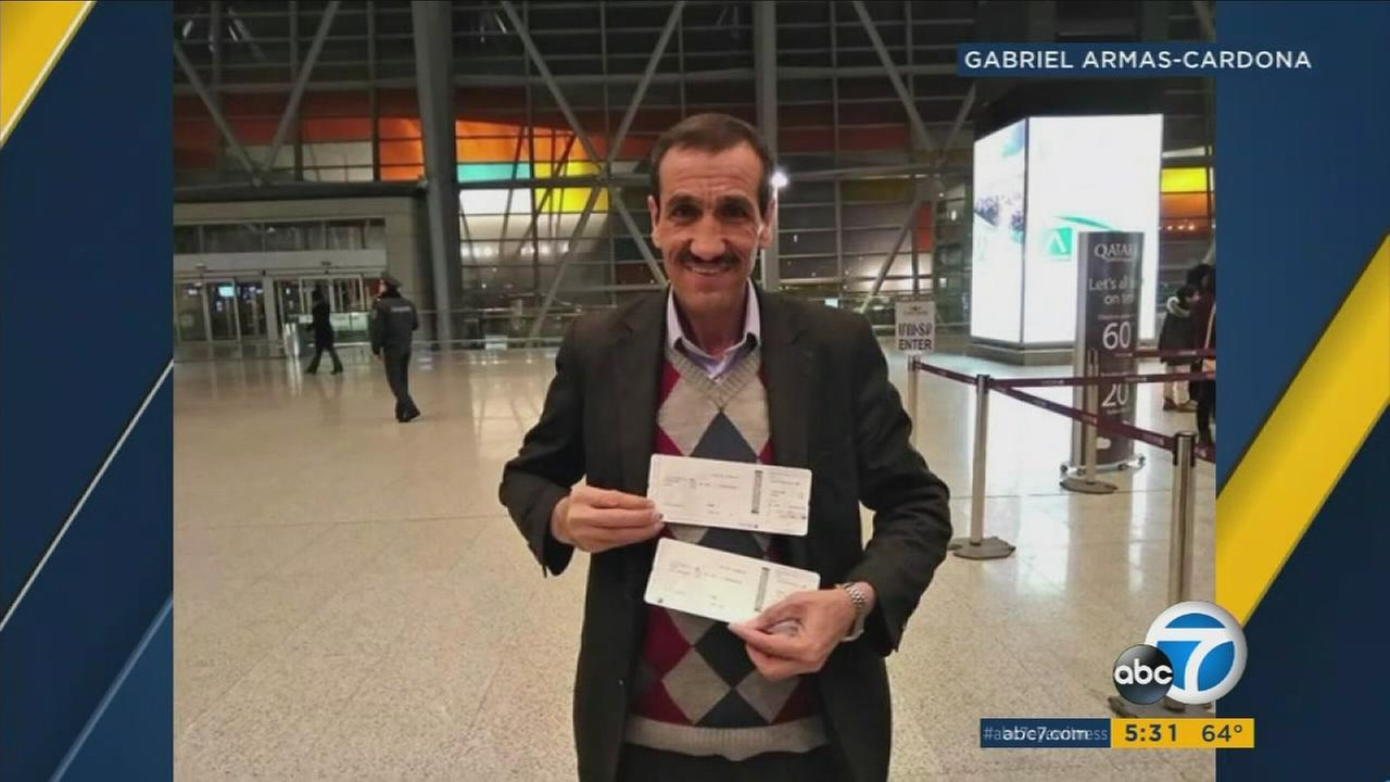Ali Vayeghan, an Iranian man who was barred from the U.S. and sent back to Iran amid President Donald Trumps travel ban, returned  to Los Angeles on Thursday, Feb. 2, 2017.