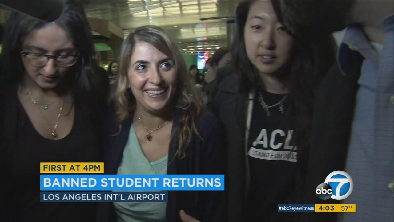 An Iranian graduate student with a U.S. student visa returned to Los Angeles on Sunday, Feb. 5, 2017, just over a week after she had initially been denied entry due to President trumps immigration ban.