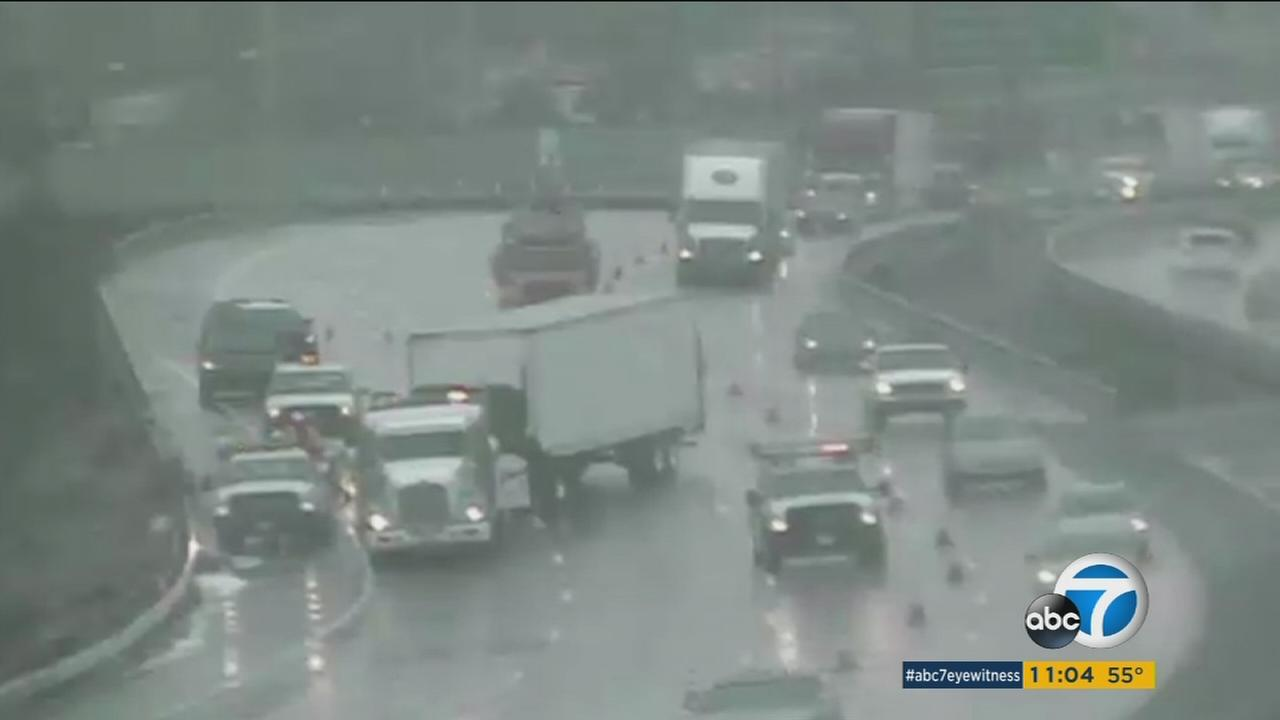 A still image from a Caltrans camera shows a jackknifed big rig blocking multiple lanes on the eastbound 10 Freeway near 9th Street in Colton on Monday, Feb. 6, 2017.