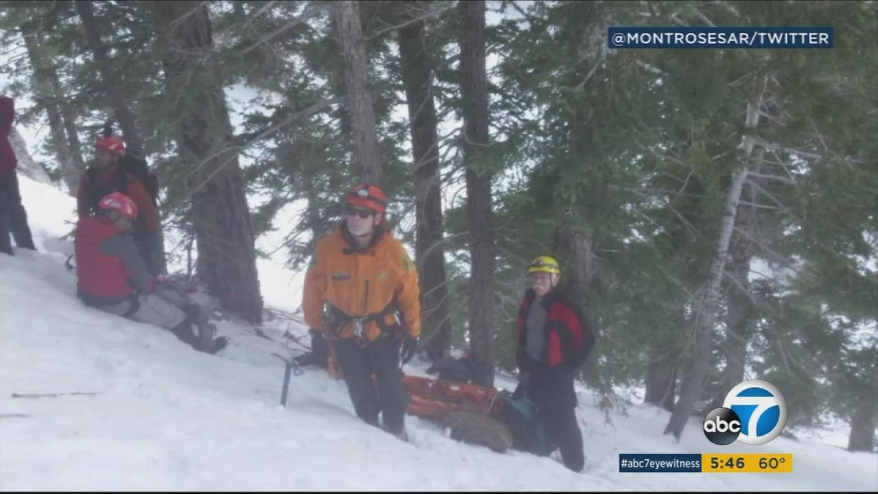 Crews responded to a rescue operation in the Angeles National Forest on Saturday, Feb. 4, 2017. One hiker died and four were injured during the hiking trip.