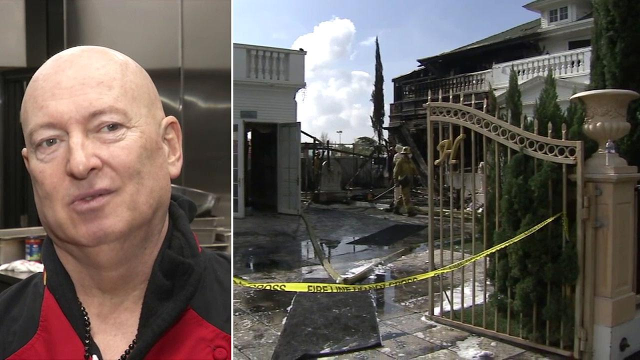 Sir Bruno Serato, chef and owner of the Anaheim White House, is shown alongside an image of his damaged business.