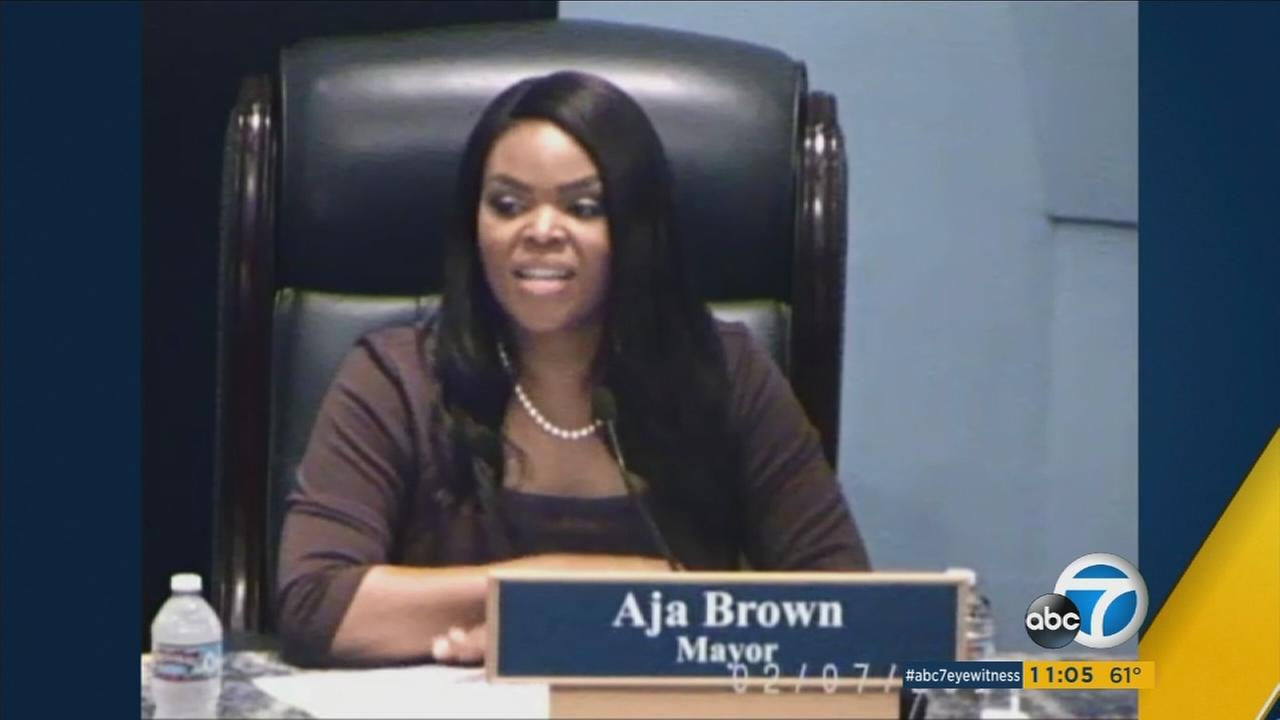 Compton Mayor Aja Brown is seen during a City Council meeting on Tuesday, Feb. 7, 2017.