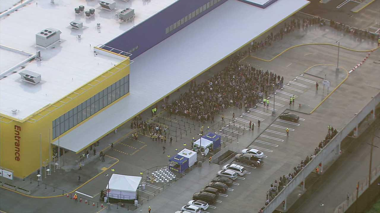 Crowds line up outside the new Burbank Ikea during the stores grand opening on Wednesday, Feb. 8, 2017.