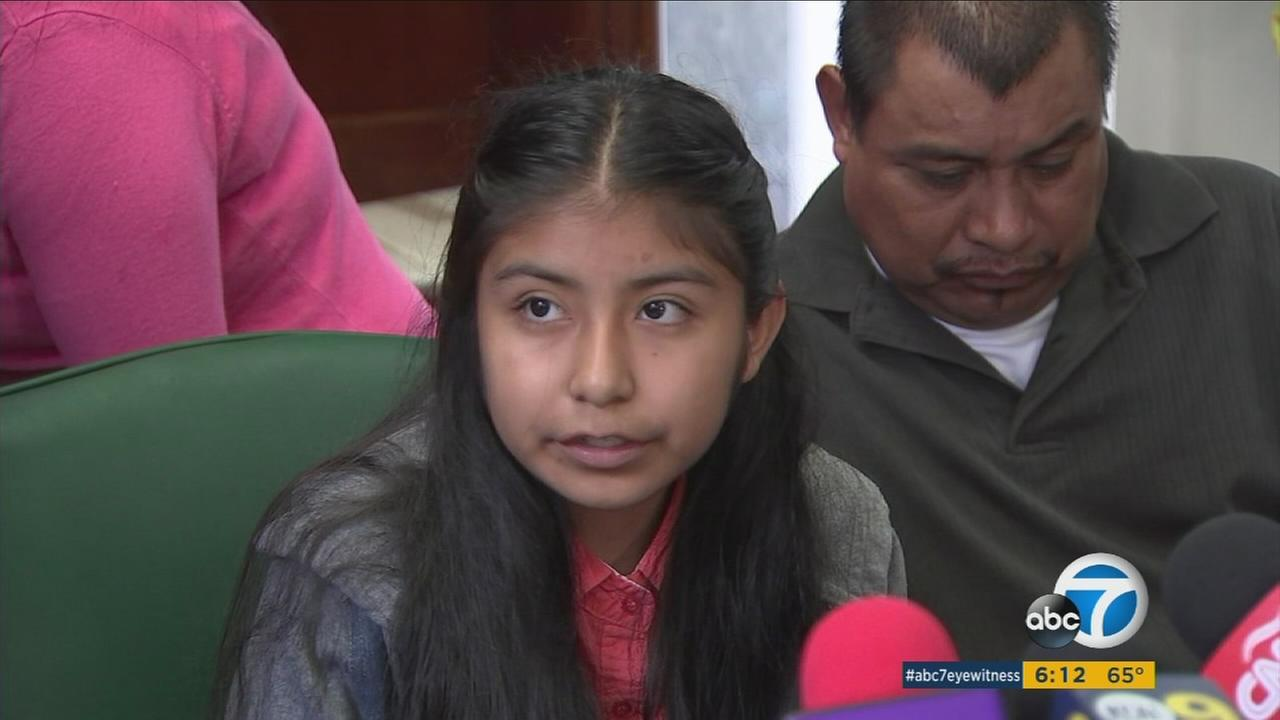 Jersey Vargas is shown during her fathers first immigration hearing on Thursday, Feb. 9, 2017.