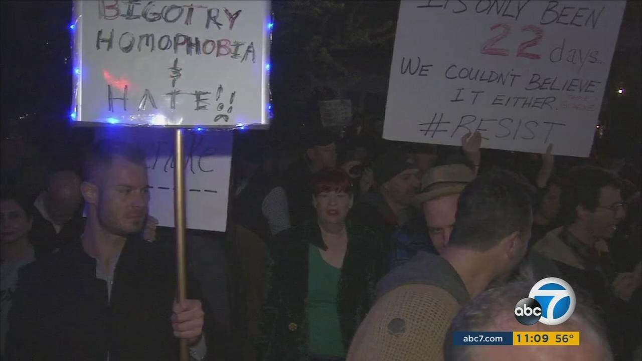 Hundreds of LGBT members and supporters gather to celebrate the 50th anniversary of the Black Cat demonstration in Silver Lake on Saturday, Feb. 11, 2017.