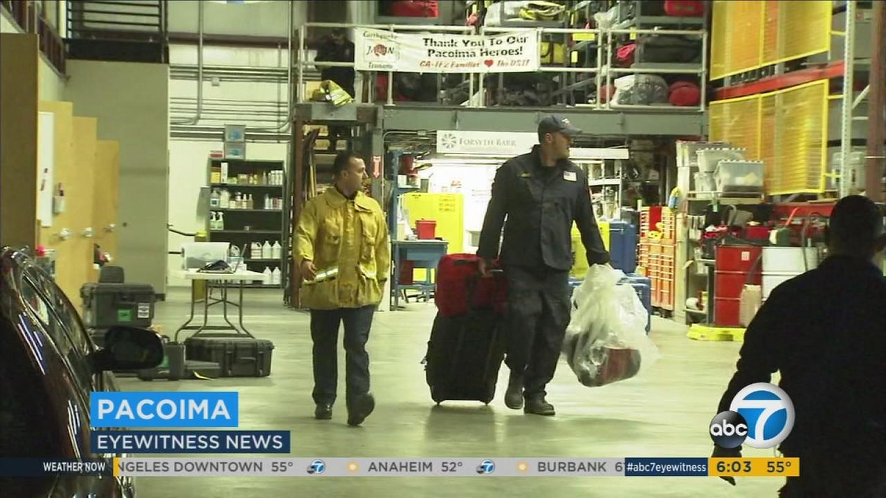 SoCal rescue crews pack up to go to Northern California to help in the event of a disaster at the Oroville Dam on Monday, Feb. 13, 2017.