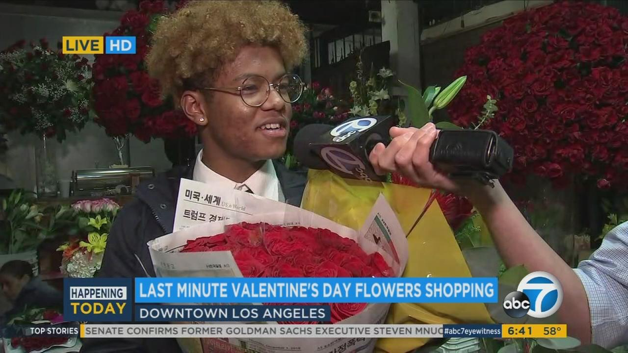 A Koreatown resident headed to downtown Los Angeles to buy flowers at the California Flower Mall for his classmates and girlfriend on Valentines Day.