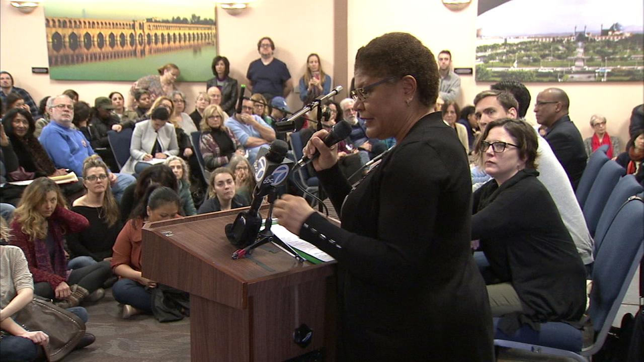 Hundreds gather for a town hall meeting with Karen Bass on Sunday, Feb. 19, 2017, in opposition of President Donald Trumps agenda.