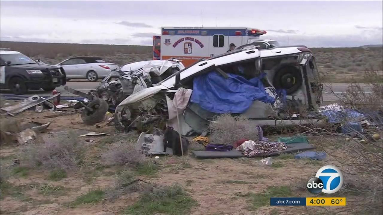 The aftermath of a charter bus and vehicle crash at Kramer Junction in San Bernardino County is shown on Monday, Feb. 27, 2017.