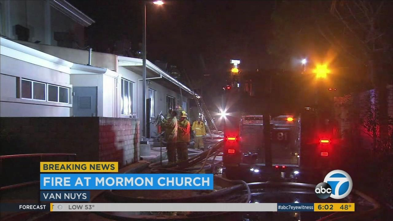 Firefighters at the scene of a Mormon church fire in Van Nuys on Wednesday, March 1, 2017.