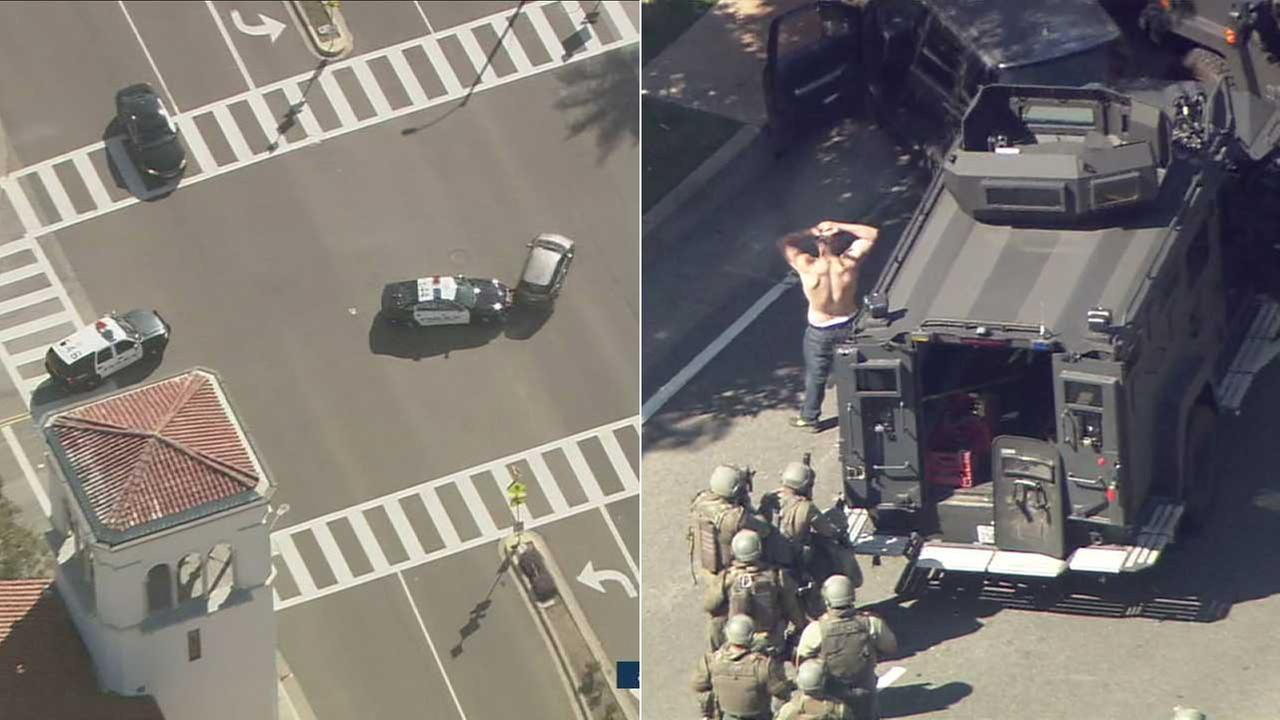 A carjacking suspect surrendered to police after leading officers on a wild chase across Los Angeles County on Wednesday, March 1, 2017.