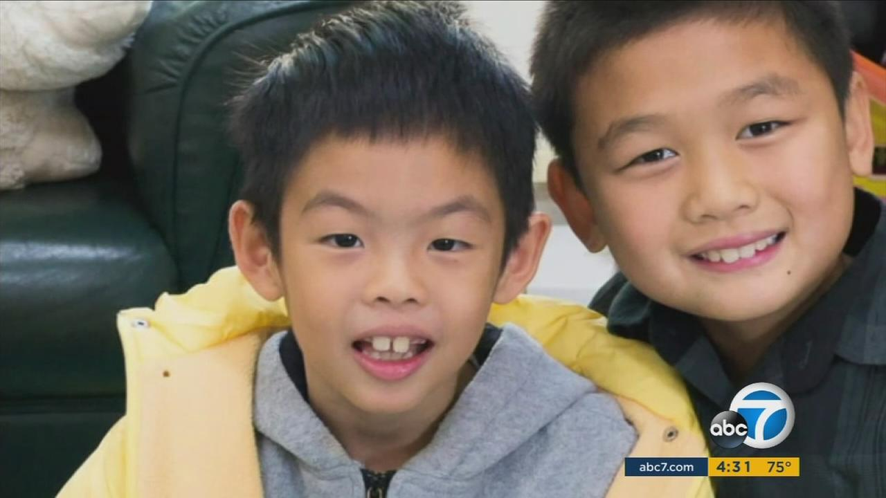 Jonah Hwang, 8, is shown in an undated photo alongside his brother.