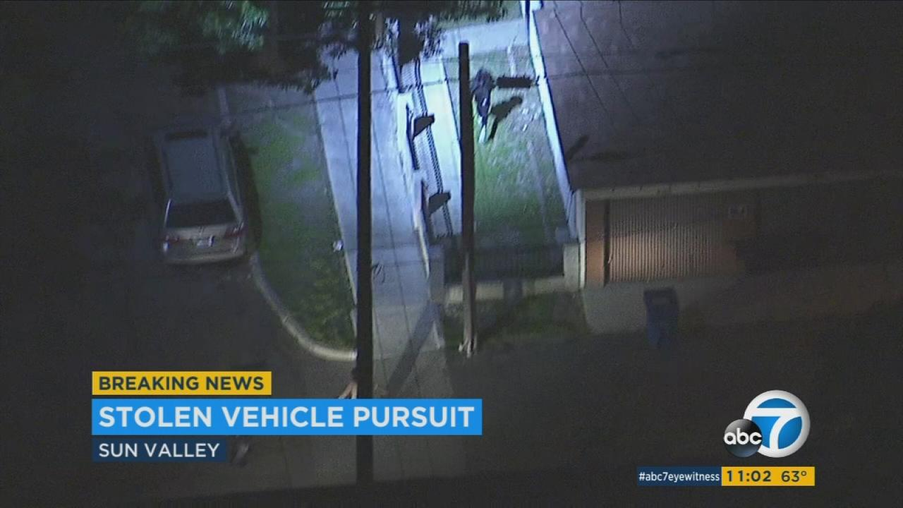 Police chased two female suspects in a possibly stolen car at speeds over 100 mph over surface streets and freeways in the San Fernando Valley Thursday night.
