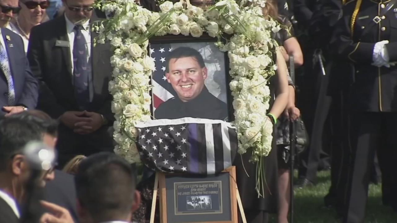 A photo of slain Whittier Police Department Officer Keith Boyer was displayed at his funeral in Downey on Friday, March 3, 2017.