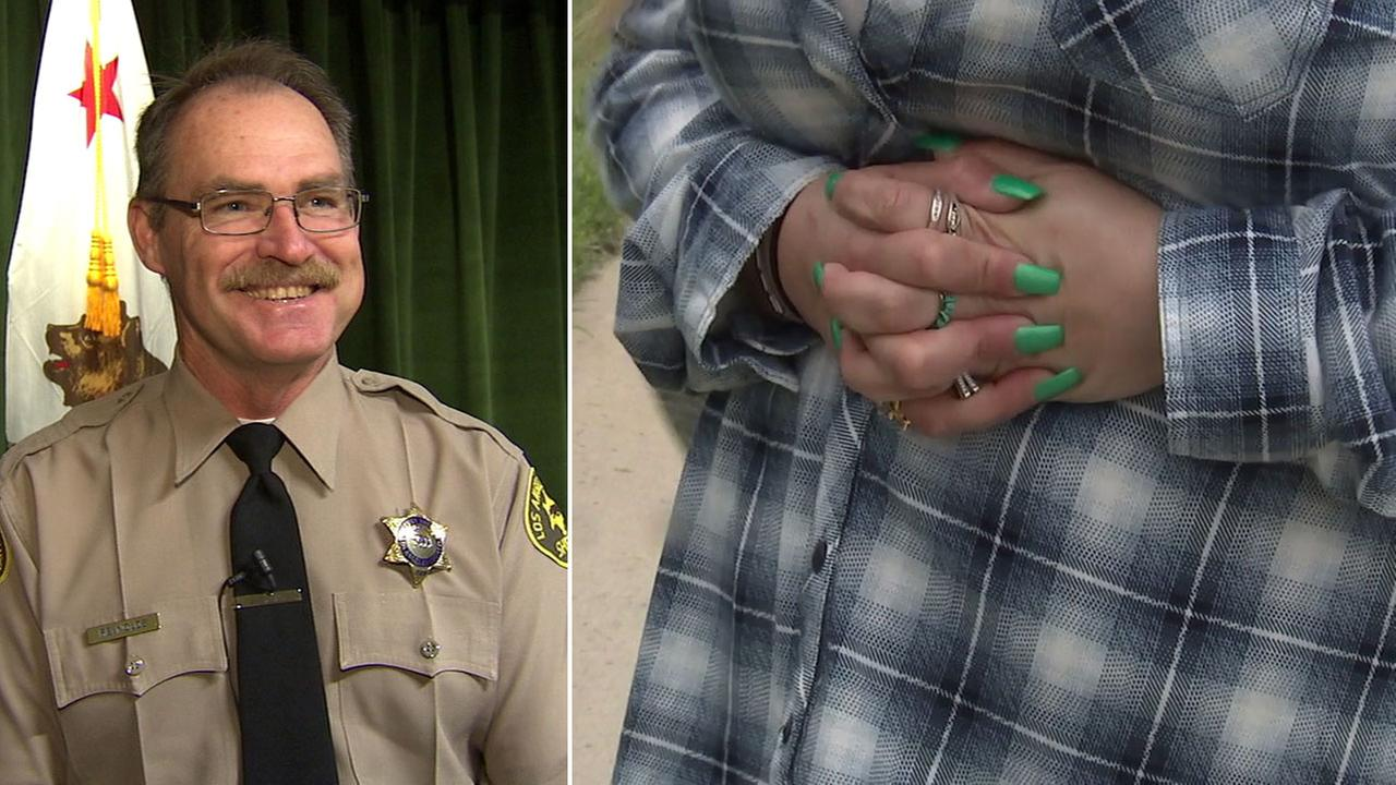 L.A. County sheriffs Sgt. Ronald Reynolds is shown alongside an image of the woman he saved imitating the Heimlich maneuver that was performed on her.