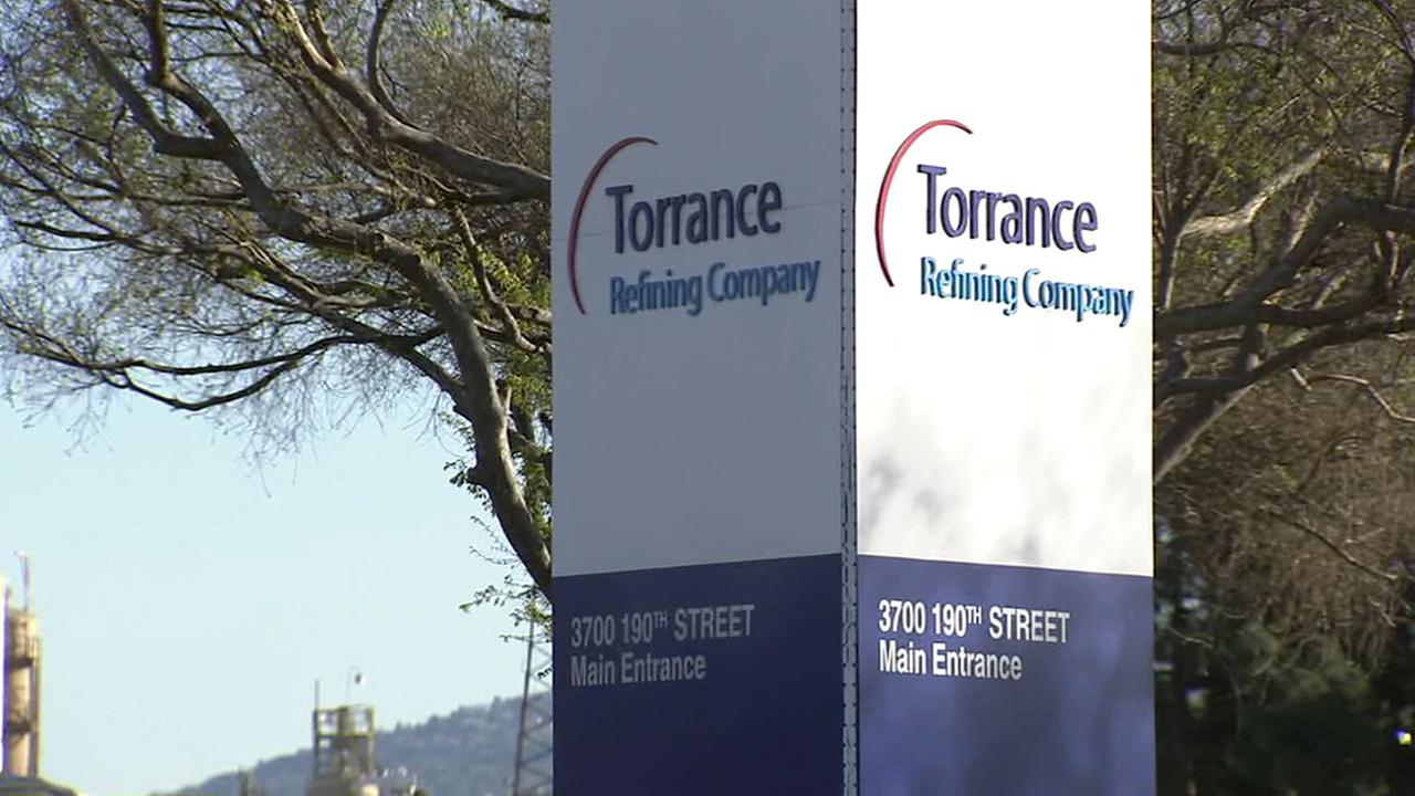 The sign for the Torrance Refinery is shown on Wednesday, March 7, 2017.