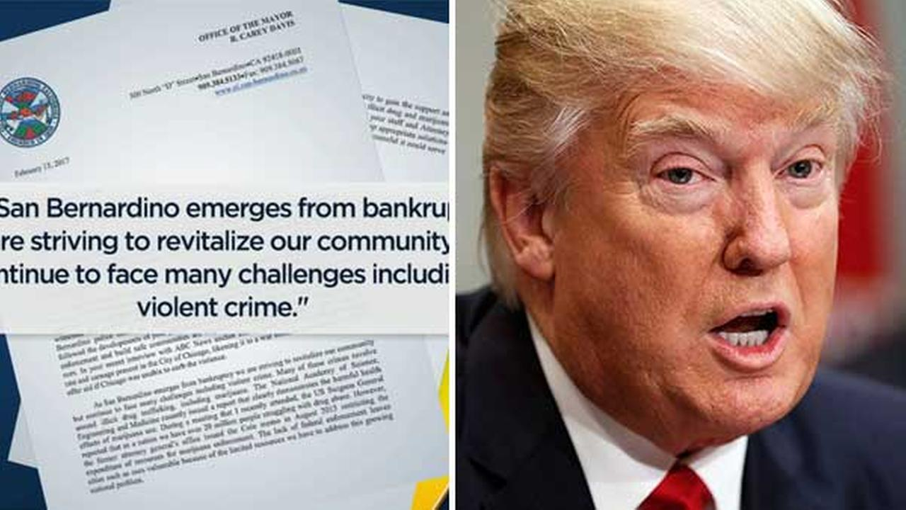 A lawyer has called into question the legality of a letter sent from San Bernardino officials to President Donald Trump.