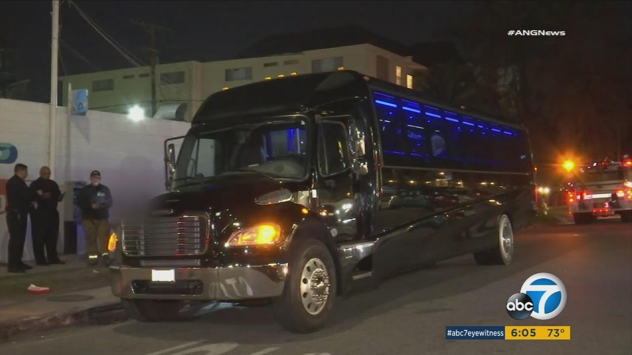 A party bus that contained minors who were drinking is shown in a stringer photo.