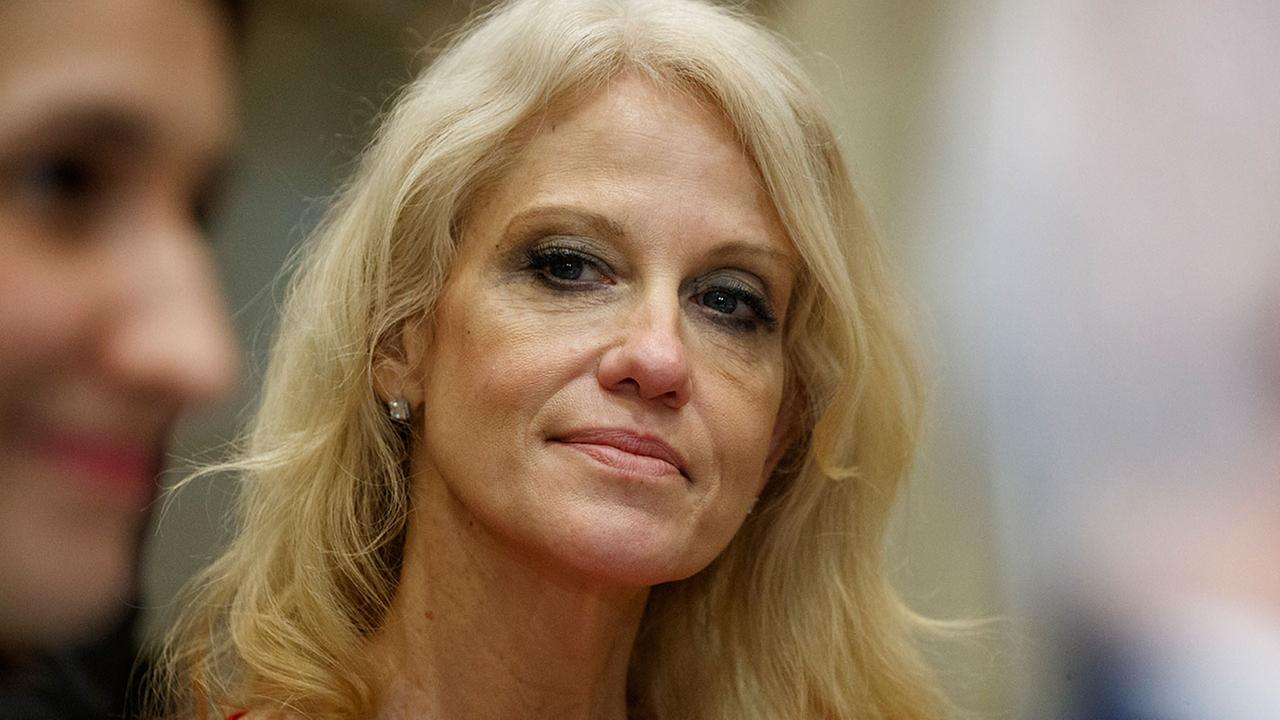 Kellyanne Conway, senior adviser to President Donald Trump, watches during a meeting with parents and teachers, Tuesday, Feb. 14, 2017.