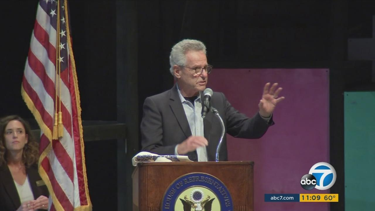 Rep. Alan Lowenthal is shown speaking during his first town hall meeting in Long Beach on Monday, March 13, 2017.