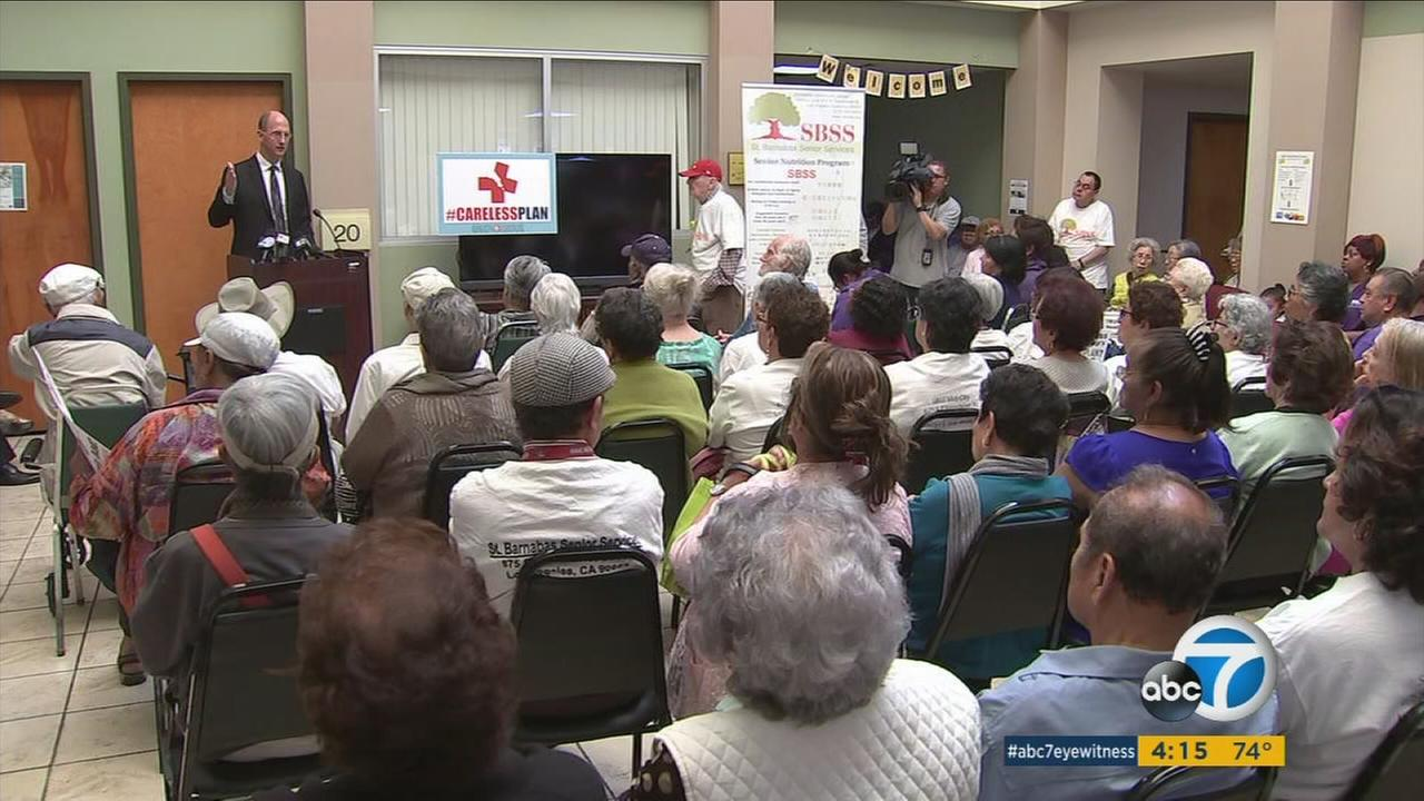 Hundreds gathered at a senior center near MacArthur Park to protest President Trumps proposed health care repeal bill.