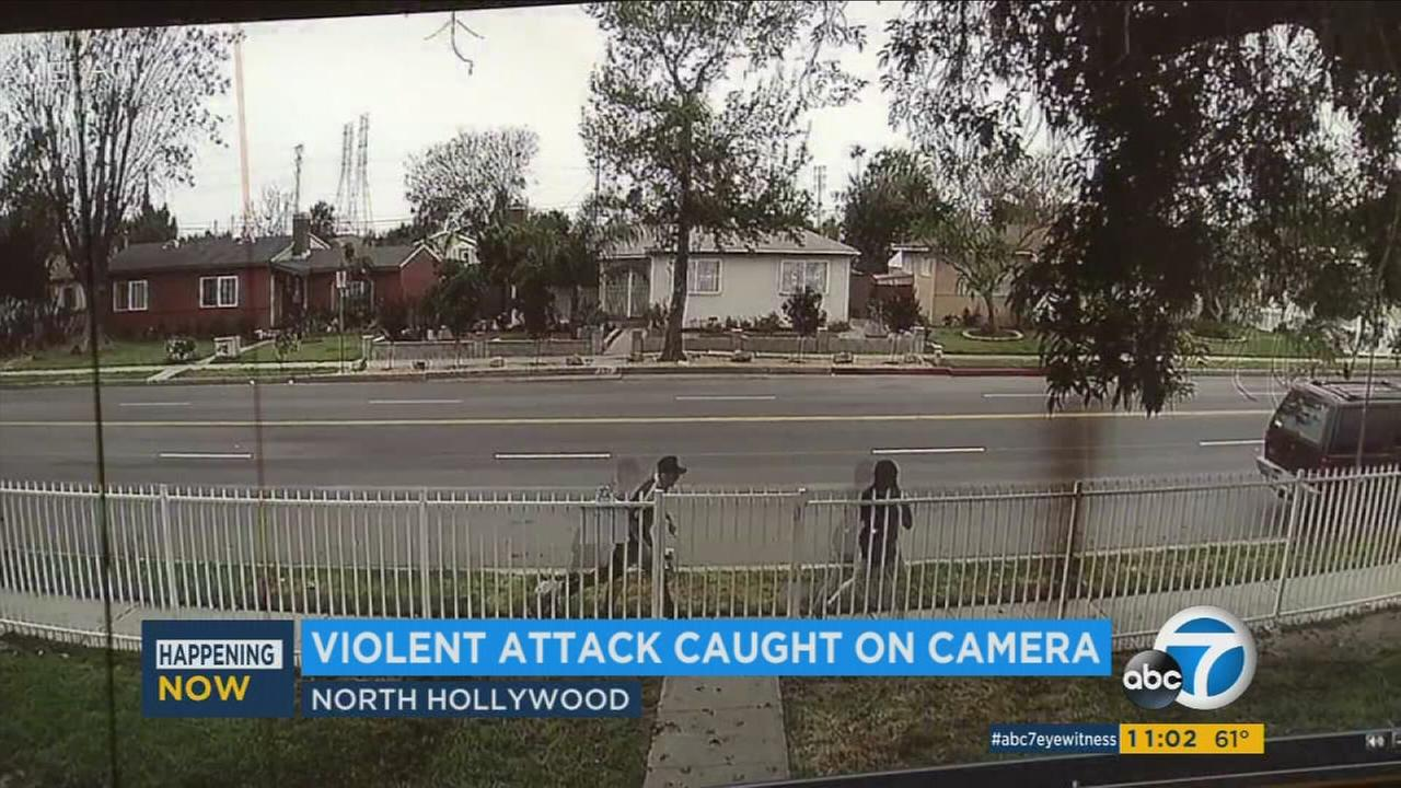 Surveillance video recorded a man trying to grab a teen girl as she walked to school in North Hollywood on Monday, March 20, 2017.