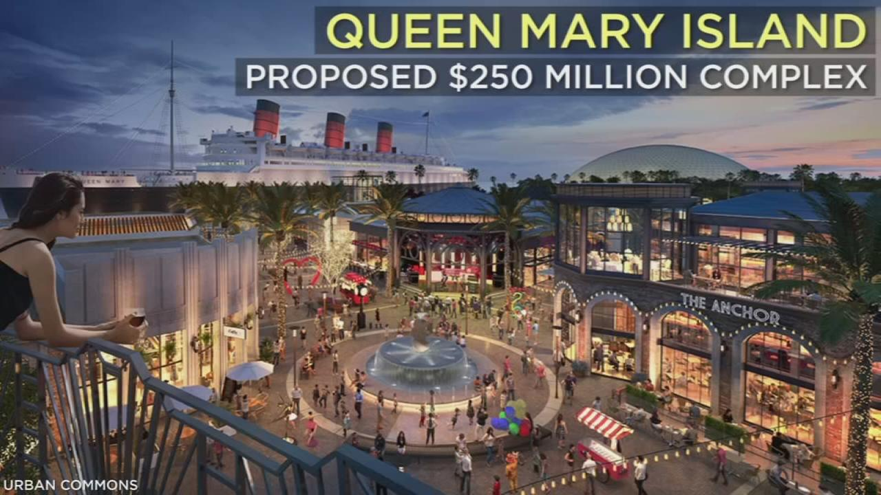 Surrounding the iconic Long Beach ship, the proposed $250 million Queen Mary Island looks to offer activities including indoor surfing, rock climbing and skydiving.