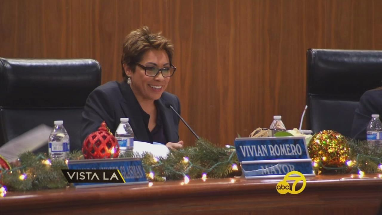 Vivian Romero, the first openly gay and Latina mayor in Montebello, is shown at her podium during her swearing-in ceremony.
