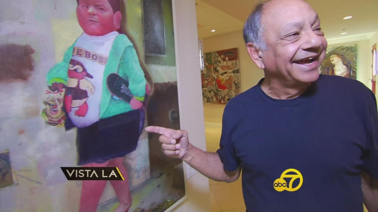 Actor Cheech Marin shows off some of the Chicano art hes collected over the years.