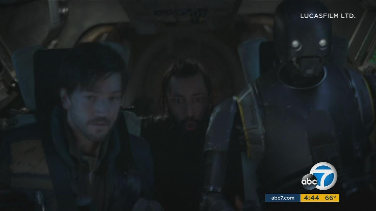 Actor Riz Ahmed, (center) who plays rebel pilot Bodhi Rook, said making Rogue One was an epic experience.