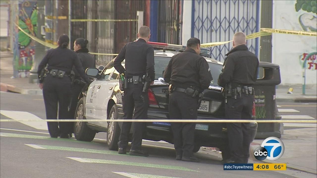 Authorities surround an area in Boyle Heights after an officer-involved shooting broke out on Saturday, March 25, 2017.