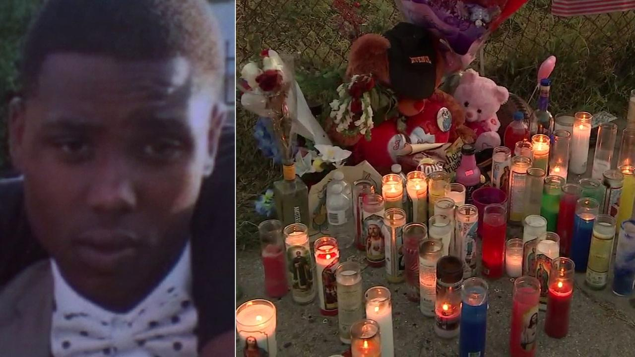 Deobeya Lee, 22, is shown in a photo alongside images from a vigil held for him after he was killed in a South Los Angeles car crash.