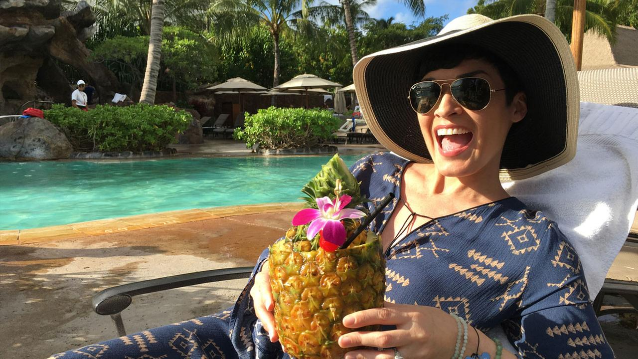 Eye on L.A. host Tina Malave has a relaxing sip of juice at the Aulani, a Disney Resort and Spa.