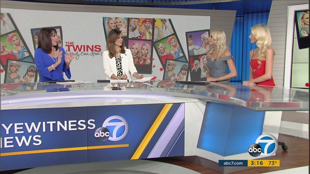 The Bachelor twins Emily and Haley Ferguson are shown in the ABC7 studios on Monday, March 27, 2017.