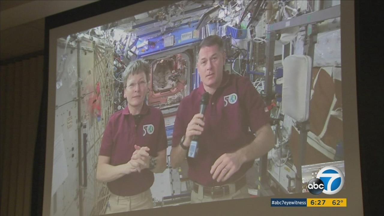 Students at Betsy Ross Elementary School spoke to astronauts aboard the International Space Station on Monday, April 3, 2017.