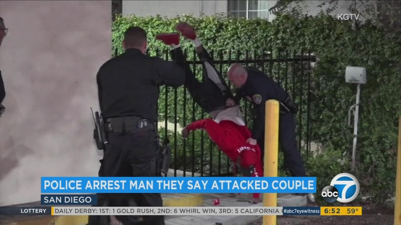 Officers in San Diego had to yank an assault suspect free of a fence, ripping his jeans open to the ankle after he got stuck.