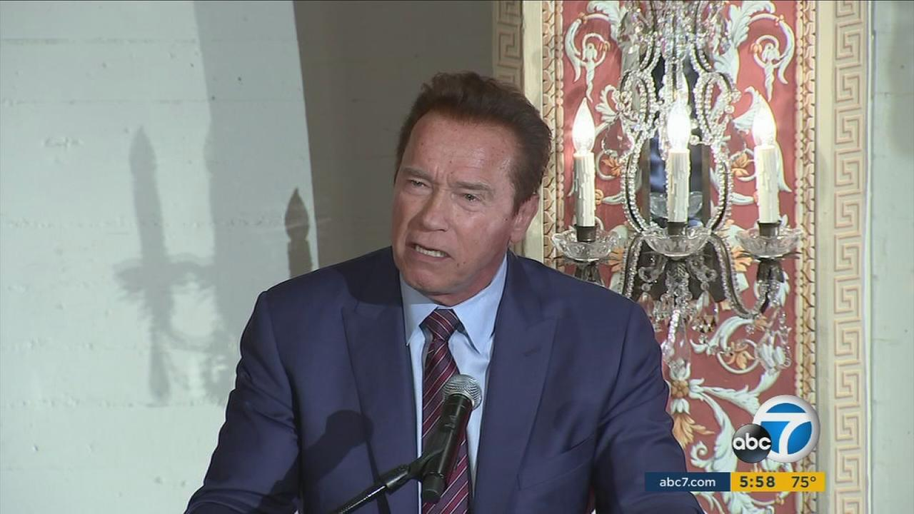 Former California Gov. Arnold Schwarzenegger is shown during an after-school summit at USC on Wednesday, April 5, 2017.