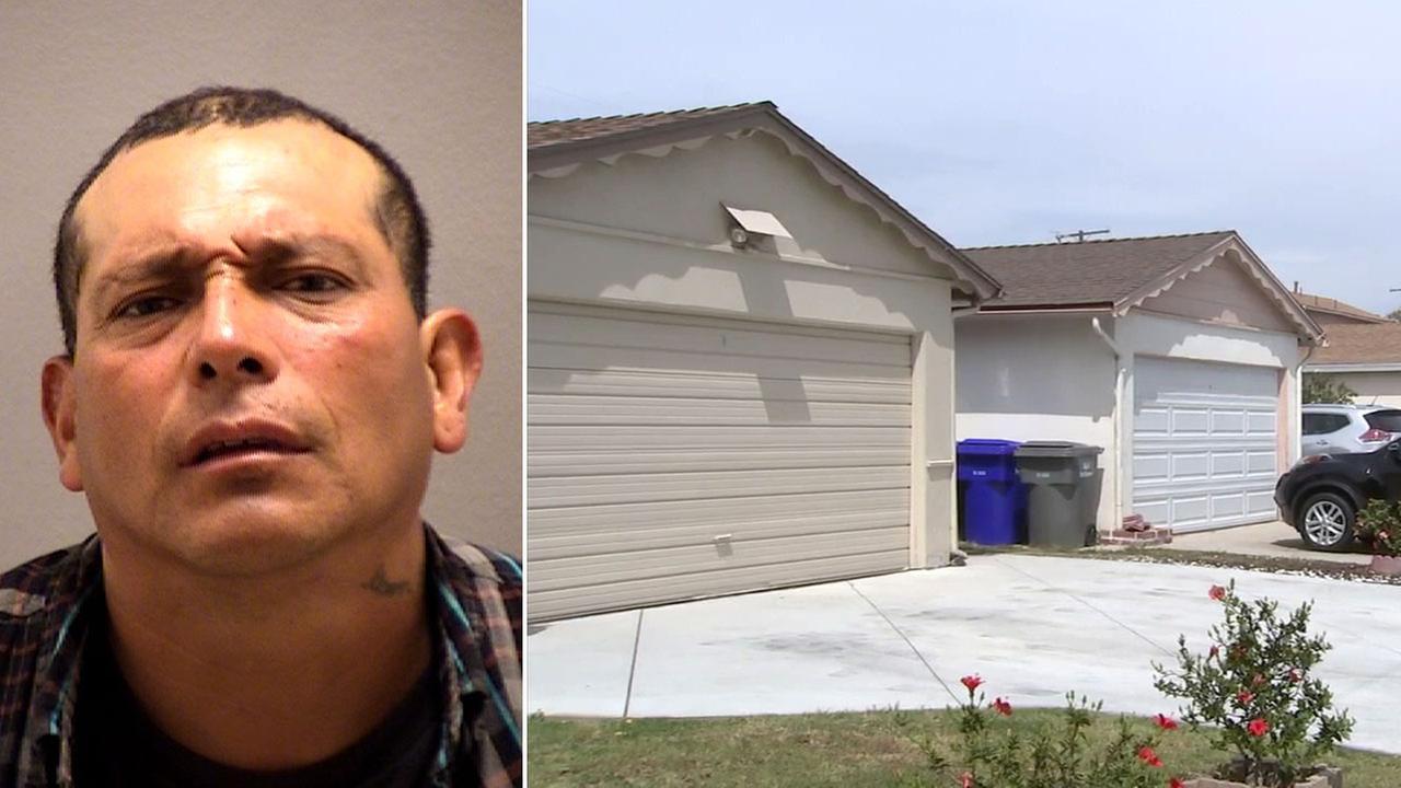 A mugshot of Guillermo Demaso, 39, is shown alongside an image of the neighborhood where he tried to break into a Port Hueneme home.