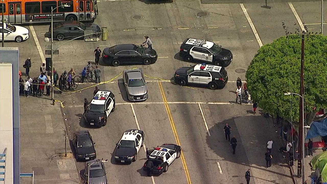 LAPD officers shot a suspect after he went on a stabbing rampage on Skid Row on Friday, April 7, 2017, according to officials.
