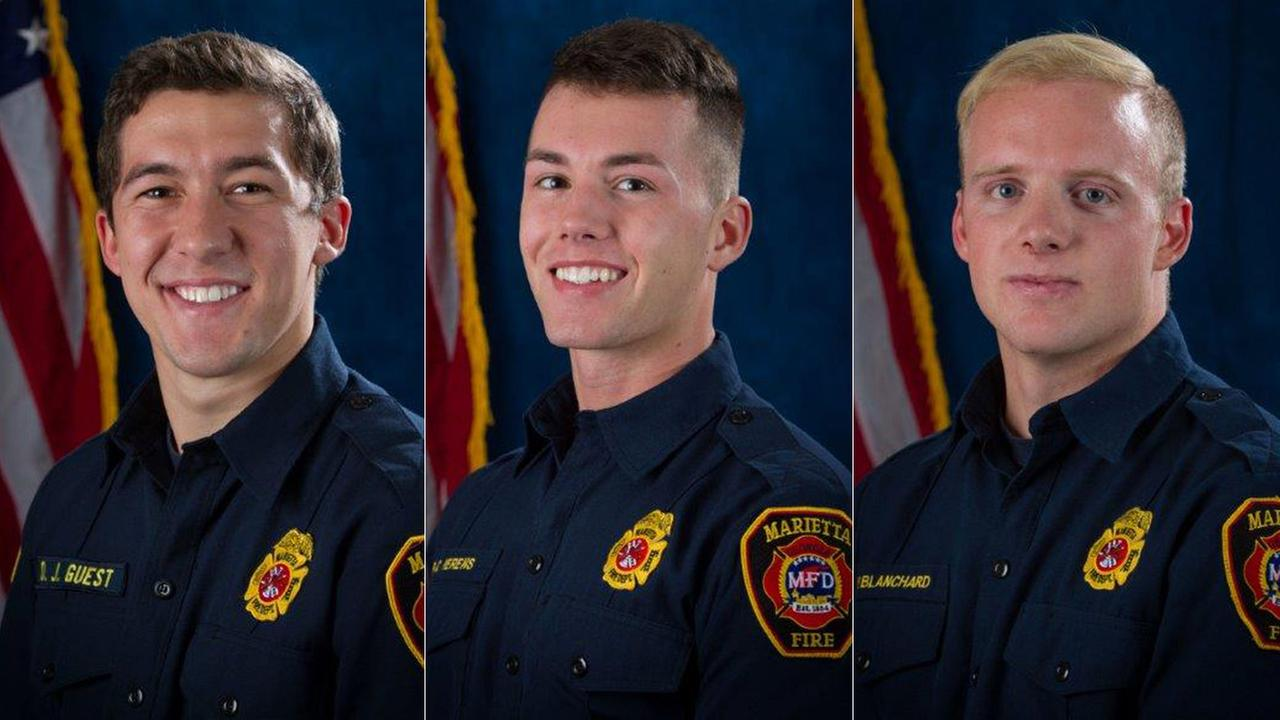 Firefighters Dillon Gues, left, Ron C. Herens, center, and Doug Blanchard are seen in official photos released by authorities in Georgia.