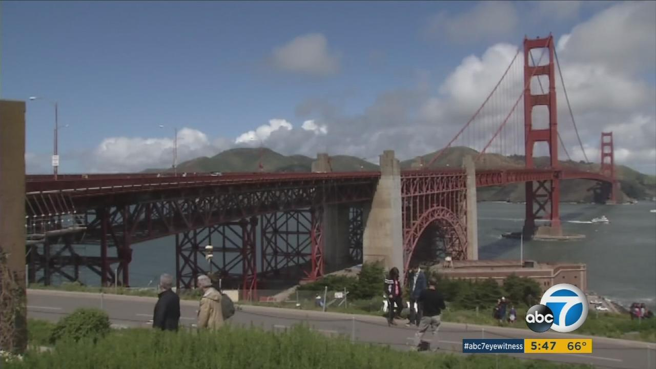 A ceremony was held to mark the beginning of work on a suicide barrier on the Golden Gate Bridge in San Francisco on Thursday, April 13, 2017.