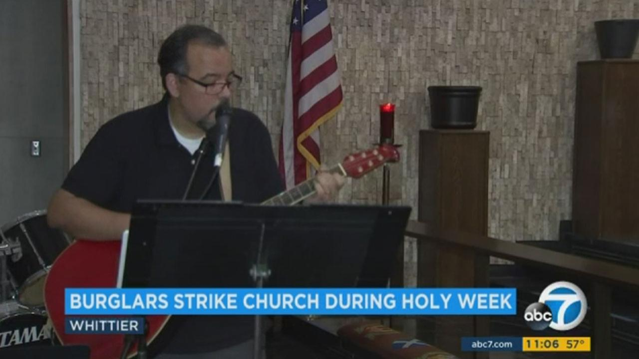 A Whittier churchs musical instruments were stolen just days before Easter Sunday.