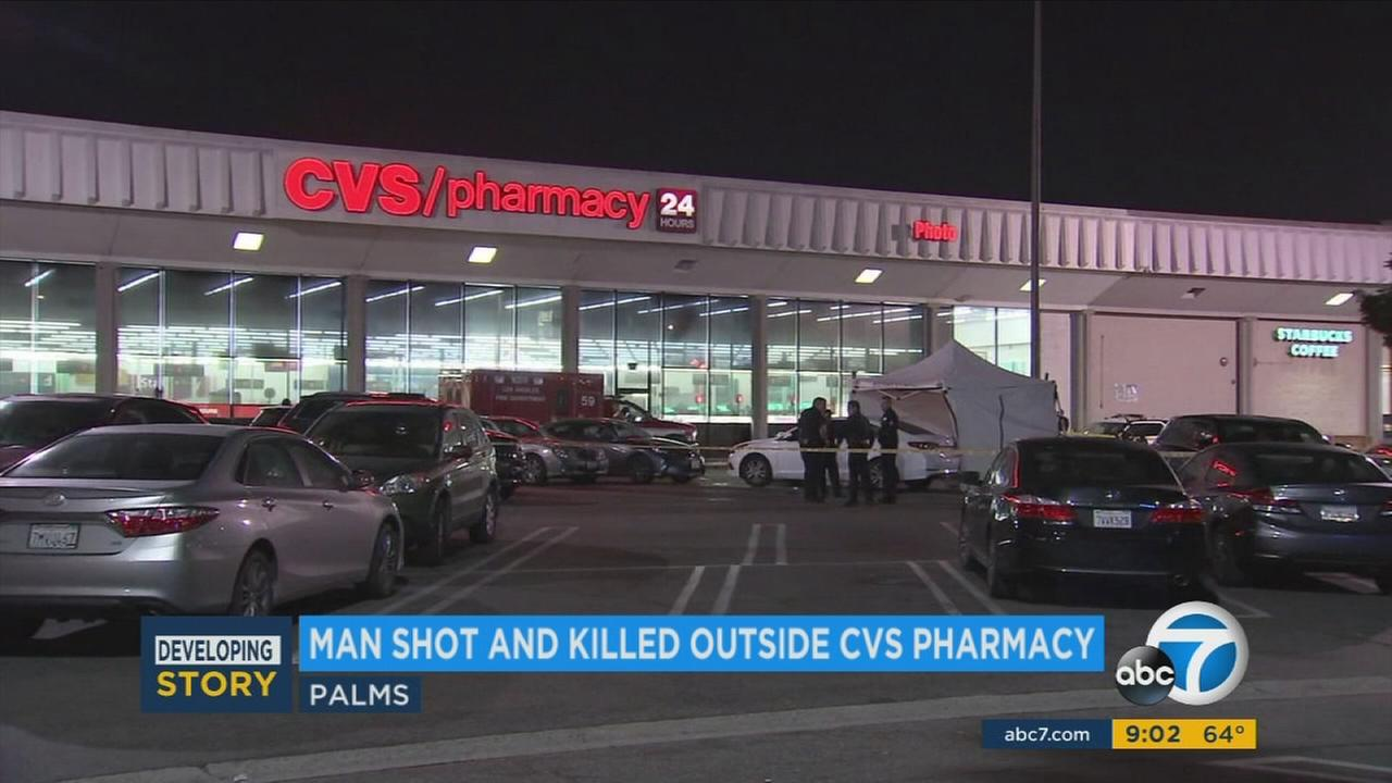 Authorities blocked off a portion of a parking lot at a CVS in Palms after a man was fatally shot on Friday, April 14, 2017.