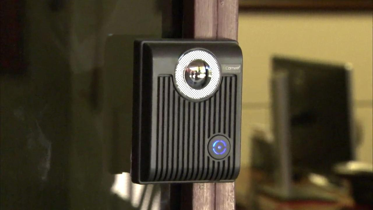 A buzzer with a camera on it is shown at the front office entrance to North Park Elementary School.
