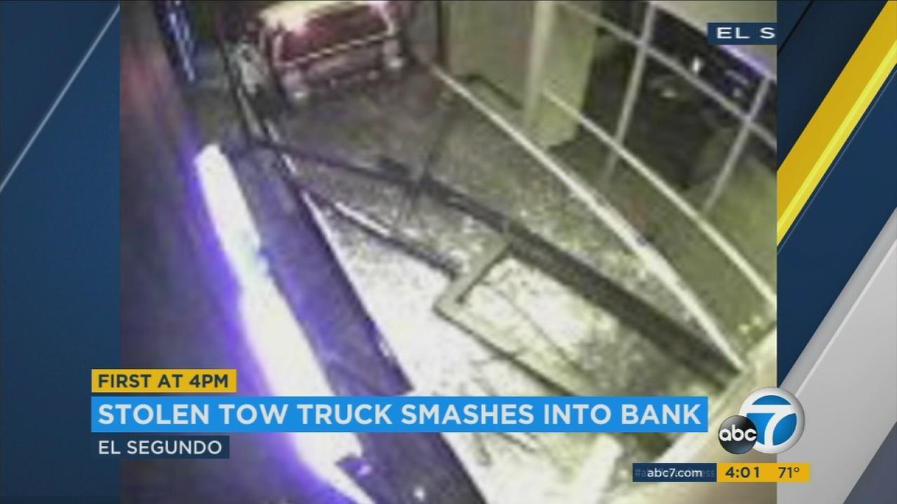 A truck took out the entire storefront of a Chase Bank in El Segundo during an attempted burglary early Sunday.