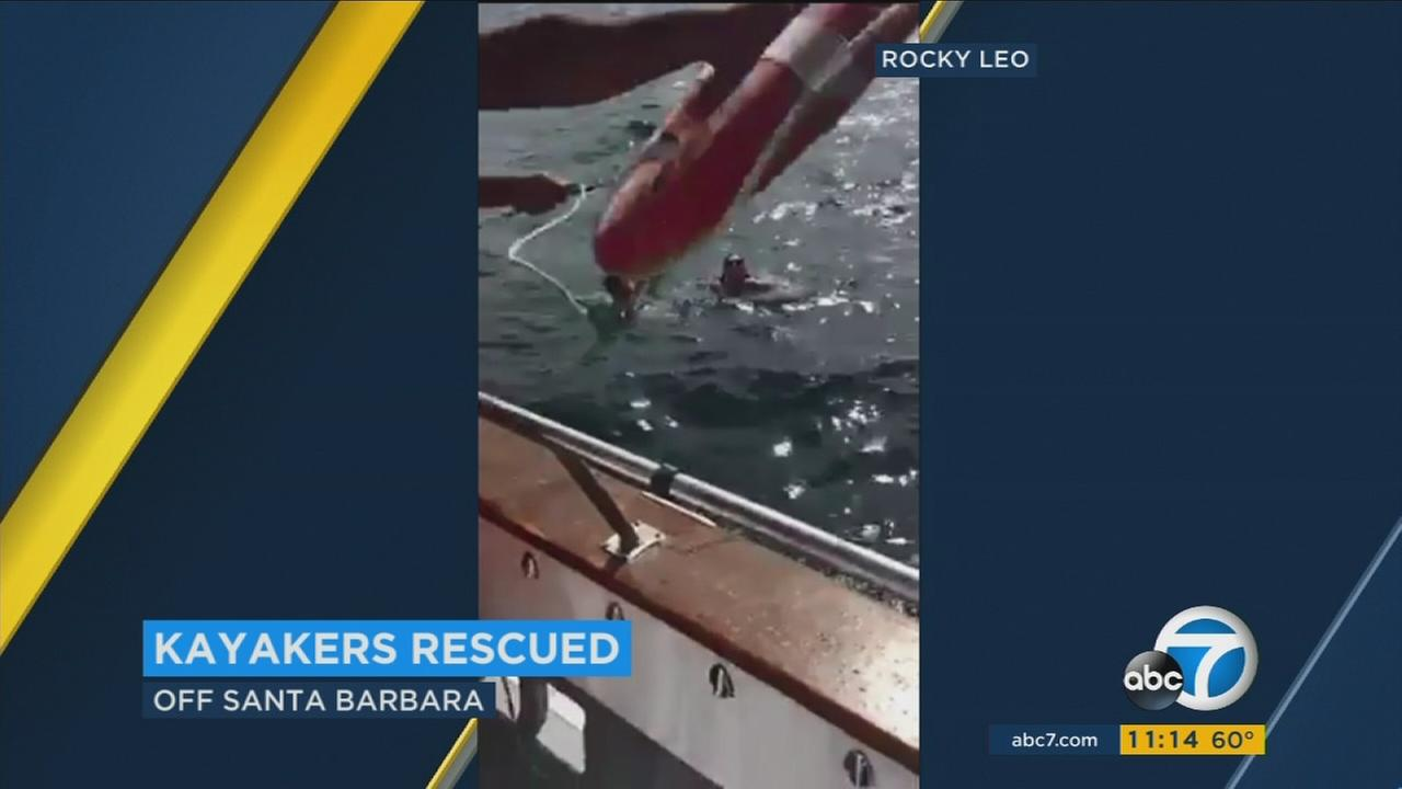Miles off the Santa Barbara coast, a fishing boat rescued two kayakers who were caught up in a powerful current they couldnt outpaddle.