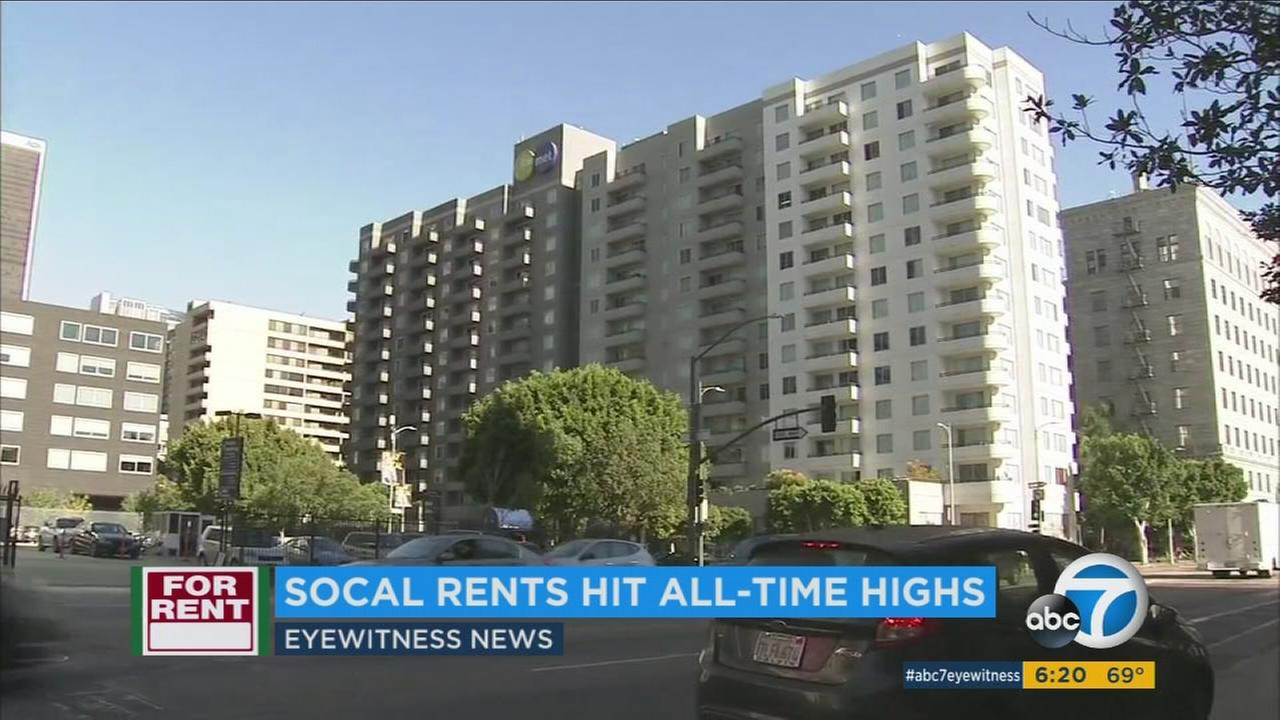 Average apartment rents in Southern California reached all-time highs in the first quarter of this year, according to a real-estate data firm.