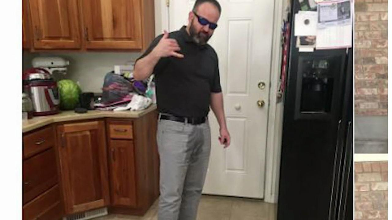Ben Sowards is shown with the fake pee stain on his pants in a photo his daughter took and tweeted out.