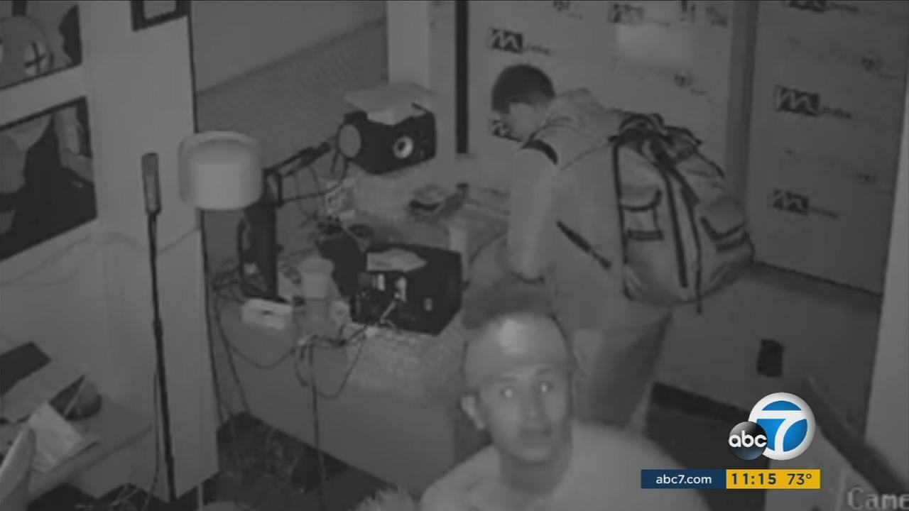 Armed thieves rifling through a radio station in Huntington Park got away with thousands of dollars in high-priced equipment, and the whole thing was caught on camera.