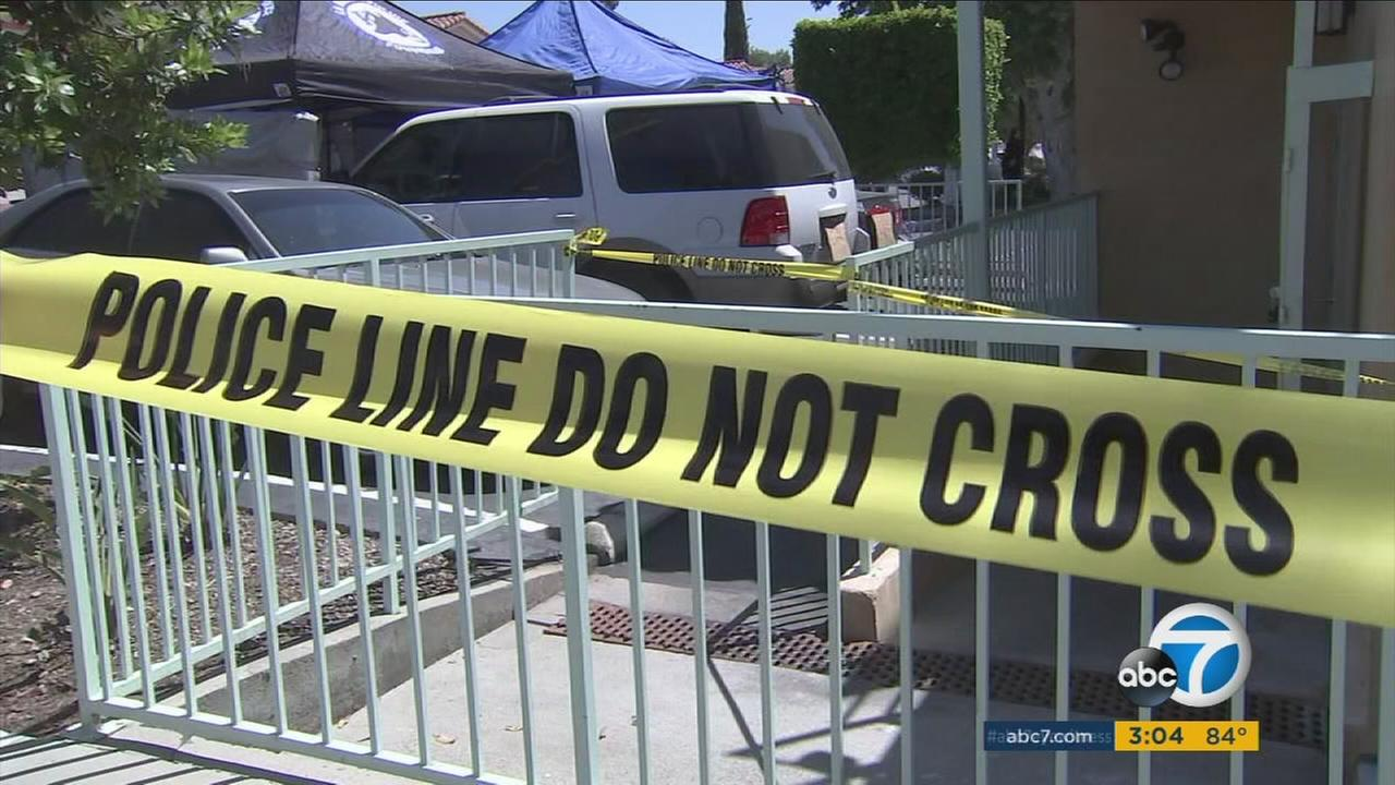 The scene of a fatal stabbing of a 19-year-old woman in La Habra early Friday, April 28, 2017.